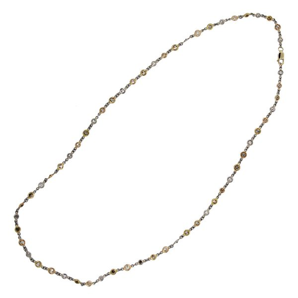 """Platinum and 18k Yellow and Rose Gold 17"""" Necklace"""
