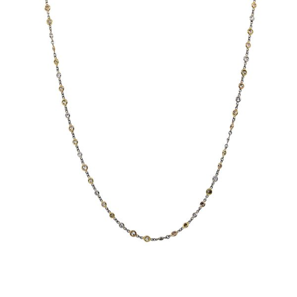 Platinum and 18k Yellow and Rose Gold Diamonds by The Yard Necklace