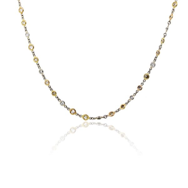 """You are viewing this Platinum and 18k Yellow and Rose Gold 17"""" Diamonds by The Yard Necklace!"""