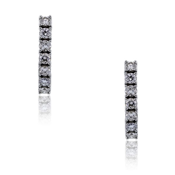 You are viewing these 14k White Gold Round Brilliant 1ctw Diamond Huggie Earrings!