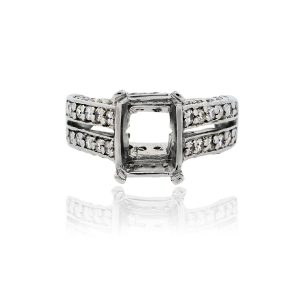 You are viewing this Platinum Double Row Diamond Mounting Band Ring!