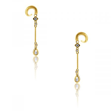 You are viewing these 18k Yellow Gold Diamond Drop Dangle Earrings!