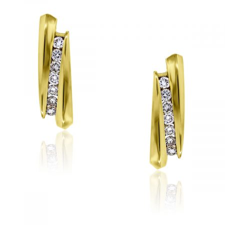 You are viewing these 14k Yellow Gold Diamond Huggie Earrings!
