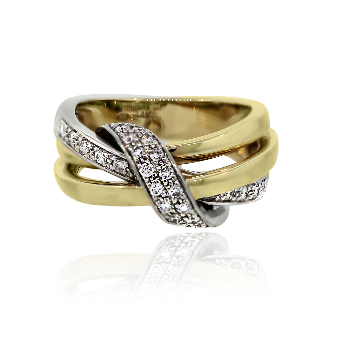 You are viewing this 14K Two Tone Gold Crossover Diamond Ring!