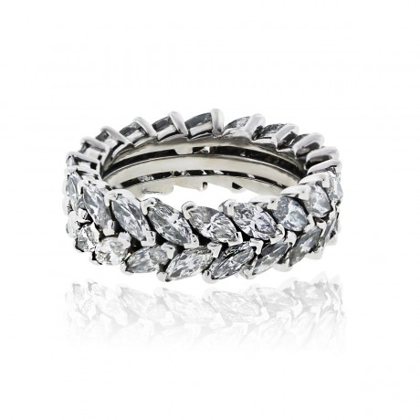 Platinum 6ctw Double Row Marquise Diamond Eternity Band Ring