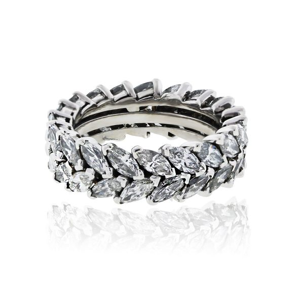 You are viewing this Platinum 6ctw Double Row Marquis Diamond Eternity Band Ring!