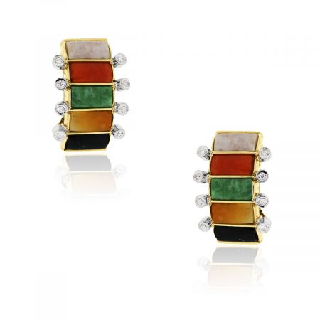 You are viewing these 14k Yellow Gold Diamond Multicolor Jade Crescent Stud Earrings!