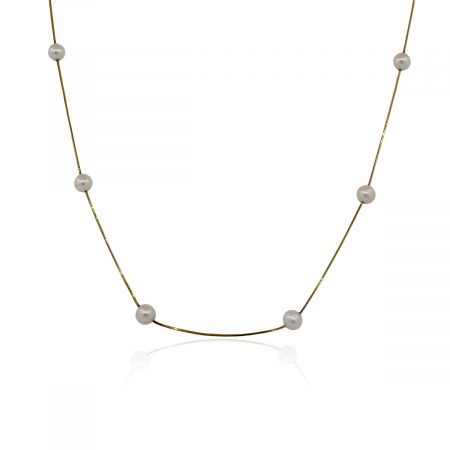 """You are viewing this 14k Yellow Gold Pearl Station 18"""" Necklace!"""