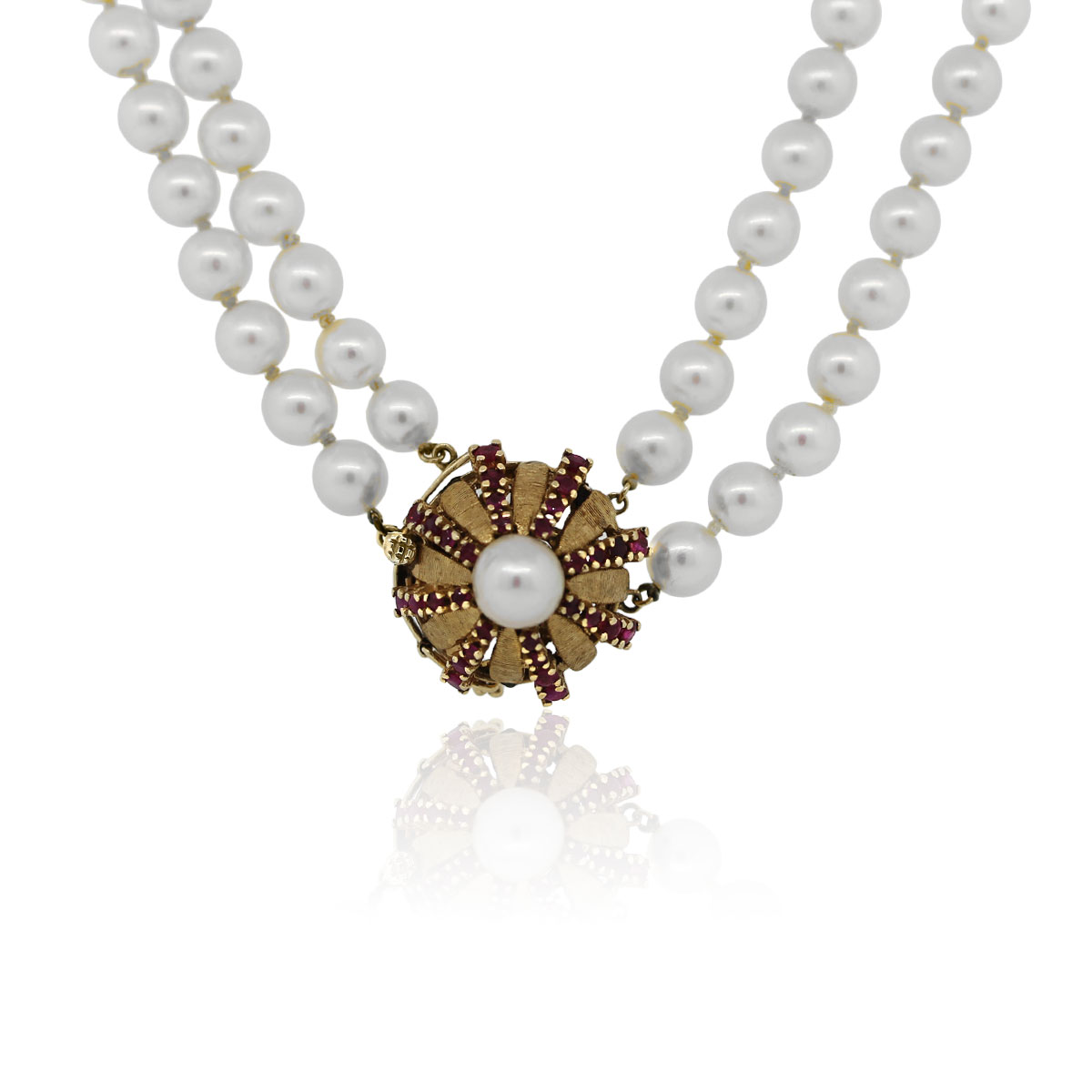 You are viewing this 14k Yellow Gold Double Pearl Strand Ruby Necklace!