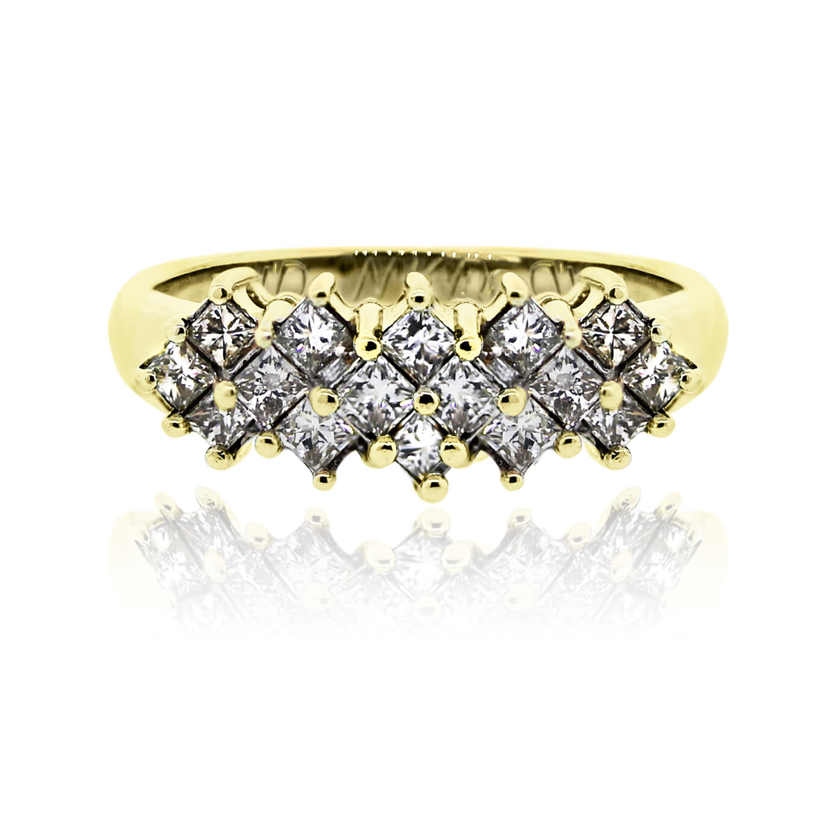 You are viewing this 14k Yellow Gold Princess Cut Cluster Diamond Band Ring!