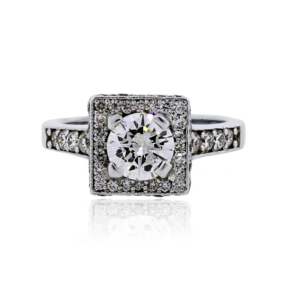 14k White Gold 1ct Round Brilliant Diamond Square Halo Engagement Ring