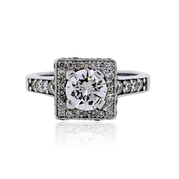 You are viewing this 14k White Gold 1ct Round Brilliant Diamond Engagement Ring!