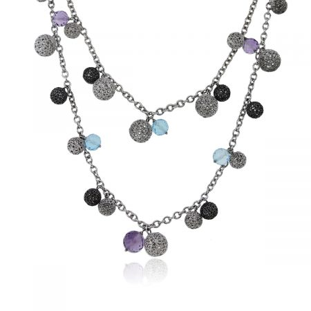 You are viewing this Blue Topaz Amethyst Oxidized Sterling Silver Double Strand Necklace!
