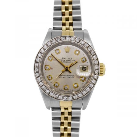 You are viewing this Rolex Datejust 69173 Two Tone Gold Diamond Bezel Ladies Watch!