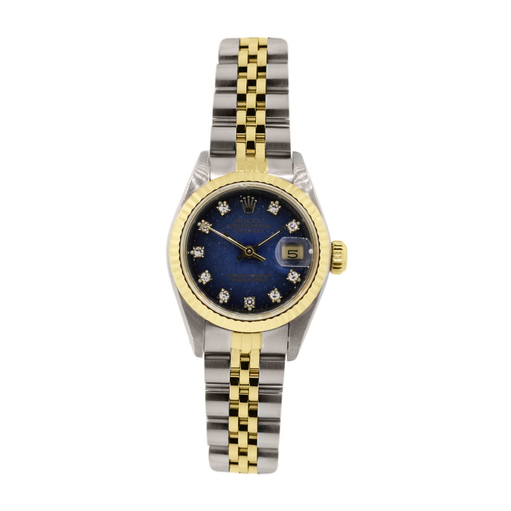 Rolex datejust 69173 two tone blue diamond dial ladies jubilee watch for Diamond dial watch