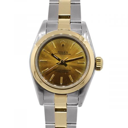 You are viewing this Rolex Oyster Perpetual 67183 Two Tone Gold Dial Ladies Watch!