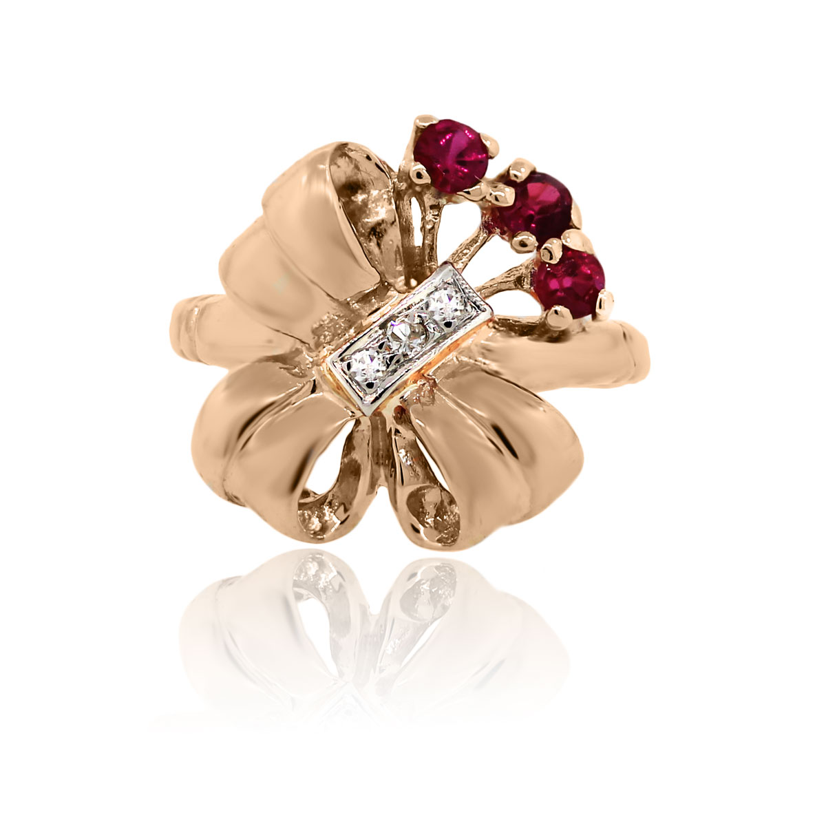 You are viewing this 14k Rose Gold Diamond Ruby Vintage Cocktail Ring!