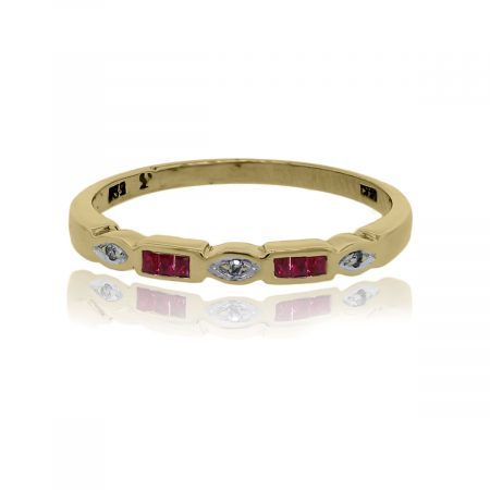 You are viewing this 14k Yellow Gold Diamond Ruby Band Ring!