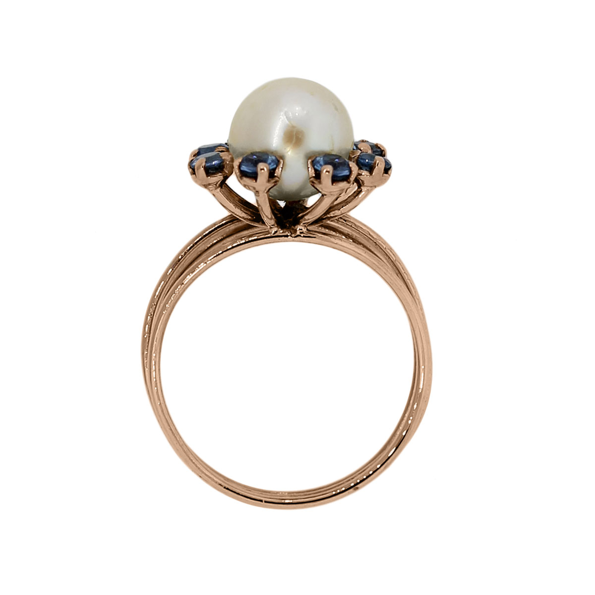 Rose Gold Pearl Blue Sapphires Cocktail Ring