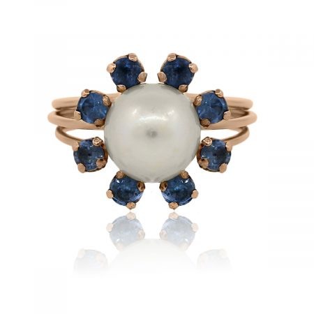 You are viewing this 18k Rose Gold Pearl Blue Sapphires Cocktail Ring!