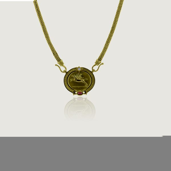 You are viewing this Seidengang 18k Yellow Gold Diamond Ruby Pendant Necklace!
