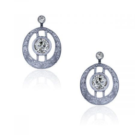 You are viewing these 14k White Gold Diamond Vintage Earrings!