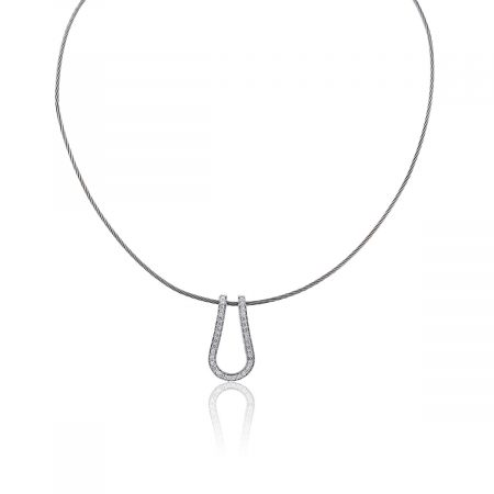 You are viewing this 14k White Gold Diamond Pendant Cable Necklace!