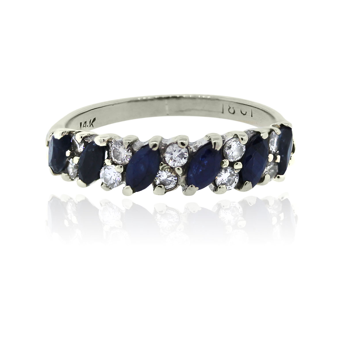 You are viewing this 14k White Gold Double Row Diamond Marquise Sapphire Ring!