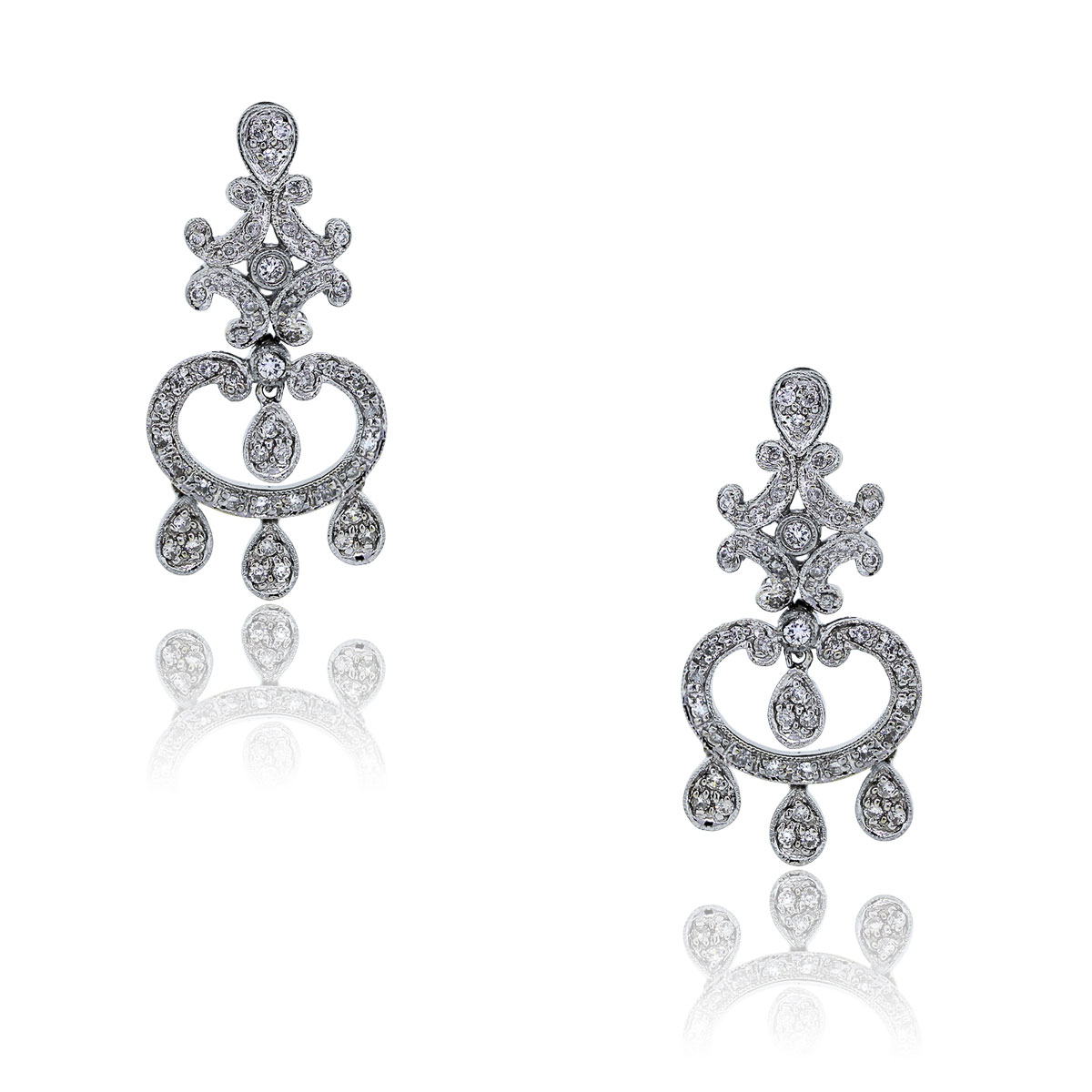 You are viewing these 18k White Gold Diamond Drop Dangle Chandelier Earrings!