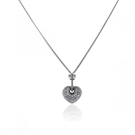 You are viewing this 18k White Gold Puffy Pave Diamond Heart Pendant Necklace!