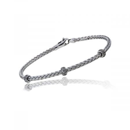 You are viewing this Woven 14k White Gold Diamond Bangle Bracelet!