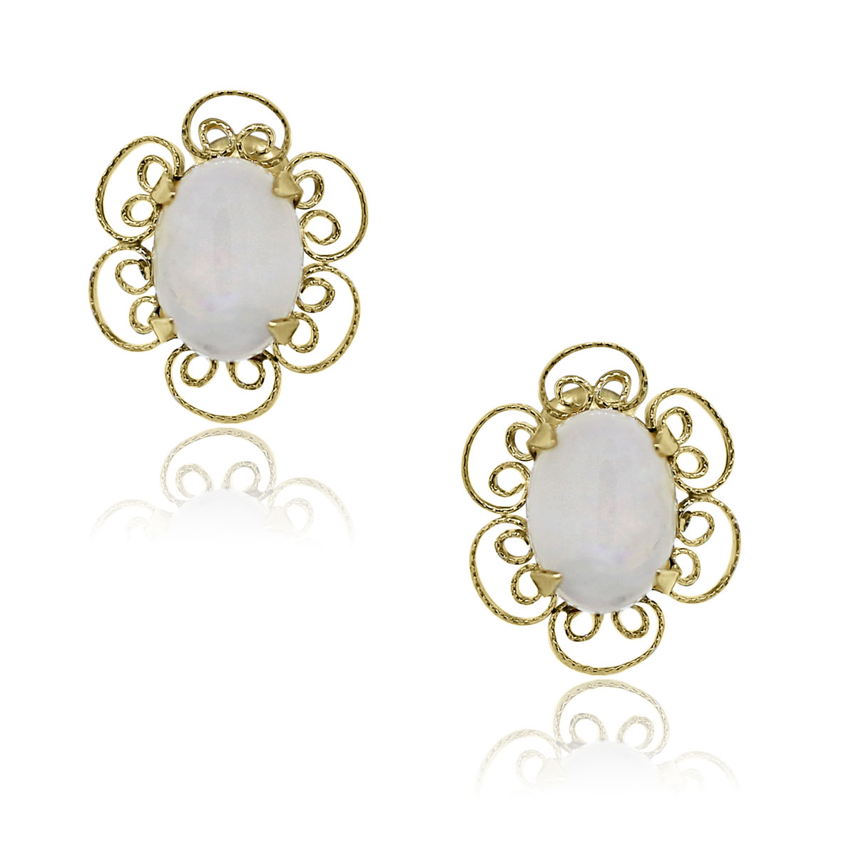 You are viewing these 14k Yellow Gold Cabochon Opal Screw Back Earrings!