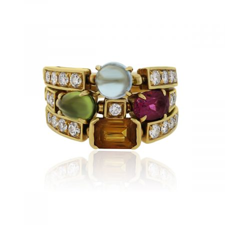 You are viewing this Bulgari Allegra 18k Yellow Gold Diamond Multi Stone 3 Band Ring!