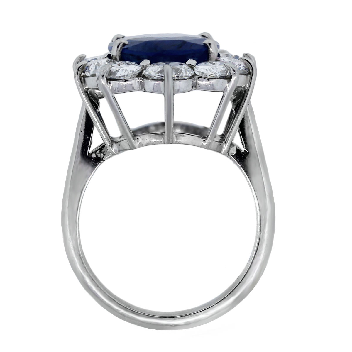 Oval Natural Non Heated Burma Sapphire Diamond Vintage Ring