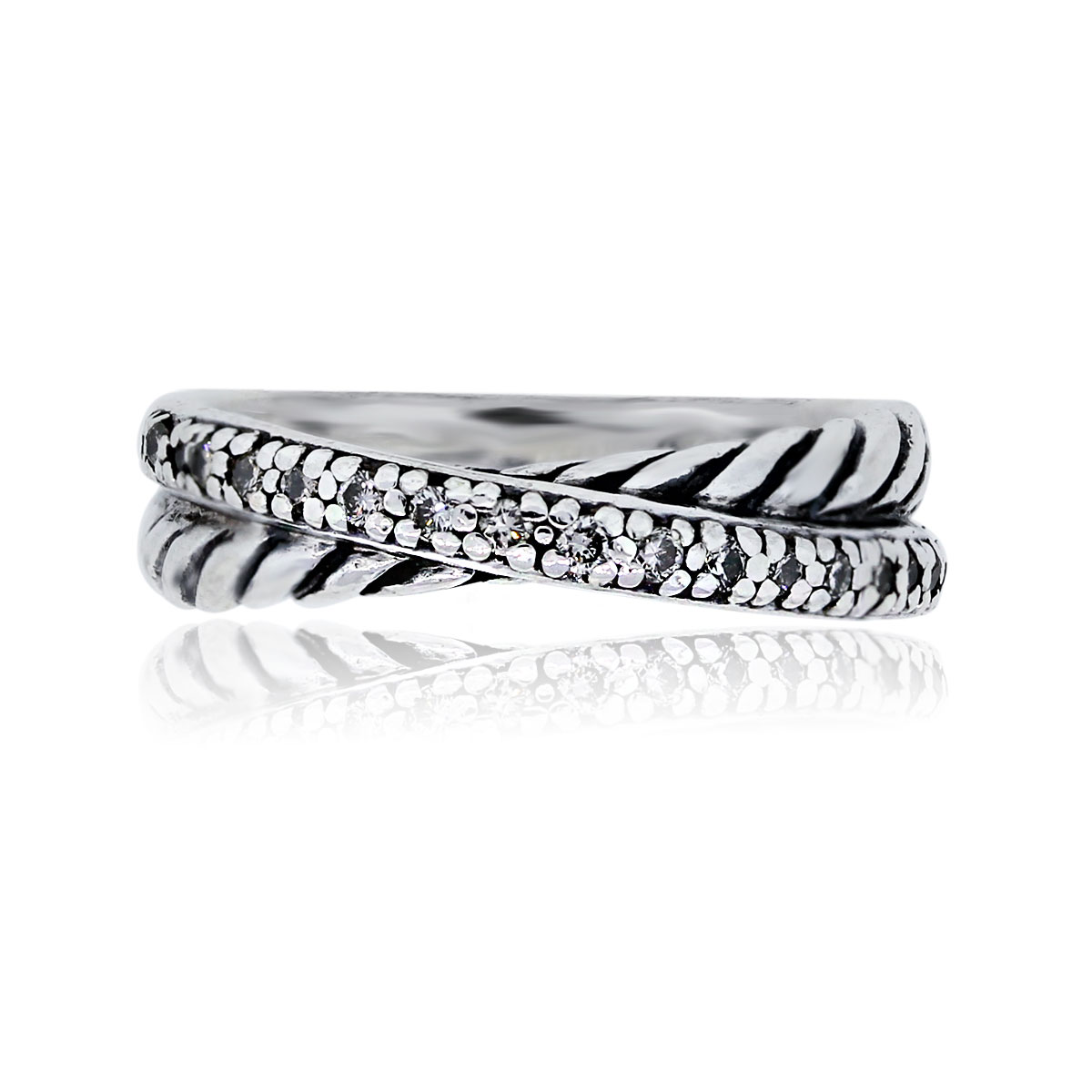 You are viewing this David Yurman Sterling Silver Diamond Cross Over Ring!