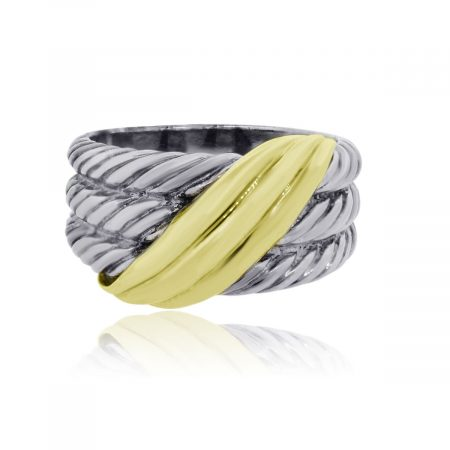 You are viewing this David Yurman 14k Yellow Gold Sterling Silver Wide Band Ring!