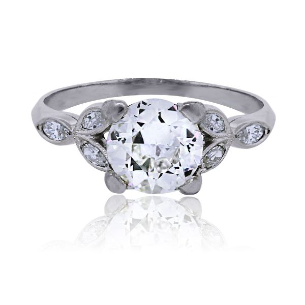 You are viewing this Platinum Floral Mounting Round Brilliant 1.19ct Diamond Ring!