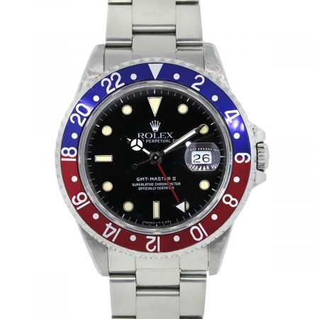 You are viewing this Rolex GMT Master II 16710 Stainless Steel Black Dial Watch!