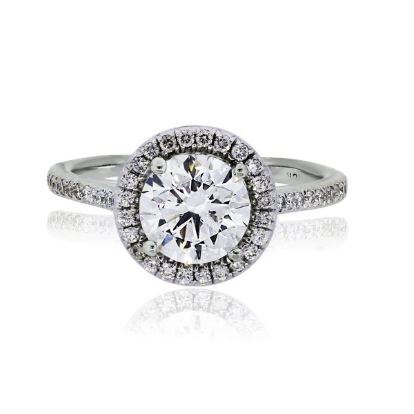 You are viewing this 18k White Gold Round Brilliant Micro Pave Diamond Engagement Ring!