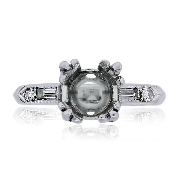 You are viewing this Platinum Baguette & Round Brilliant Diamond Vintage Mounting!