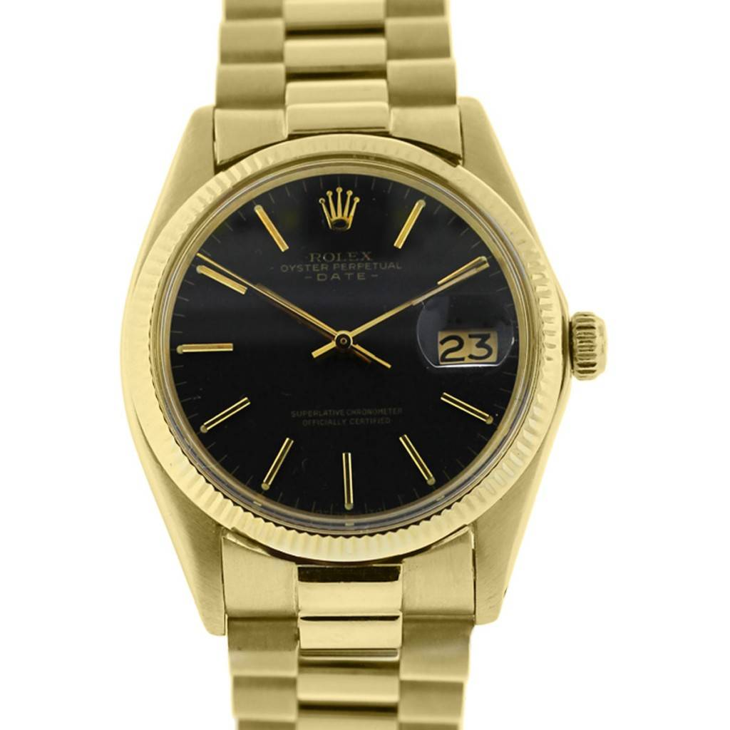 0dafb5cb9 Rolex Date 1503 Yellow Gold Black Dial Automatic Watch - Boca Raton