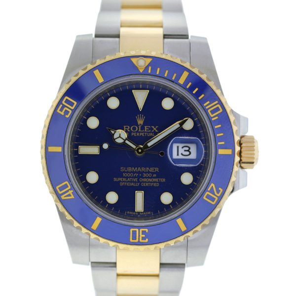 You are viewing this Rolex Submariner 116613 Blue Dial Two Tone Watch!