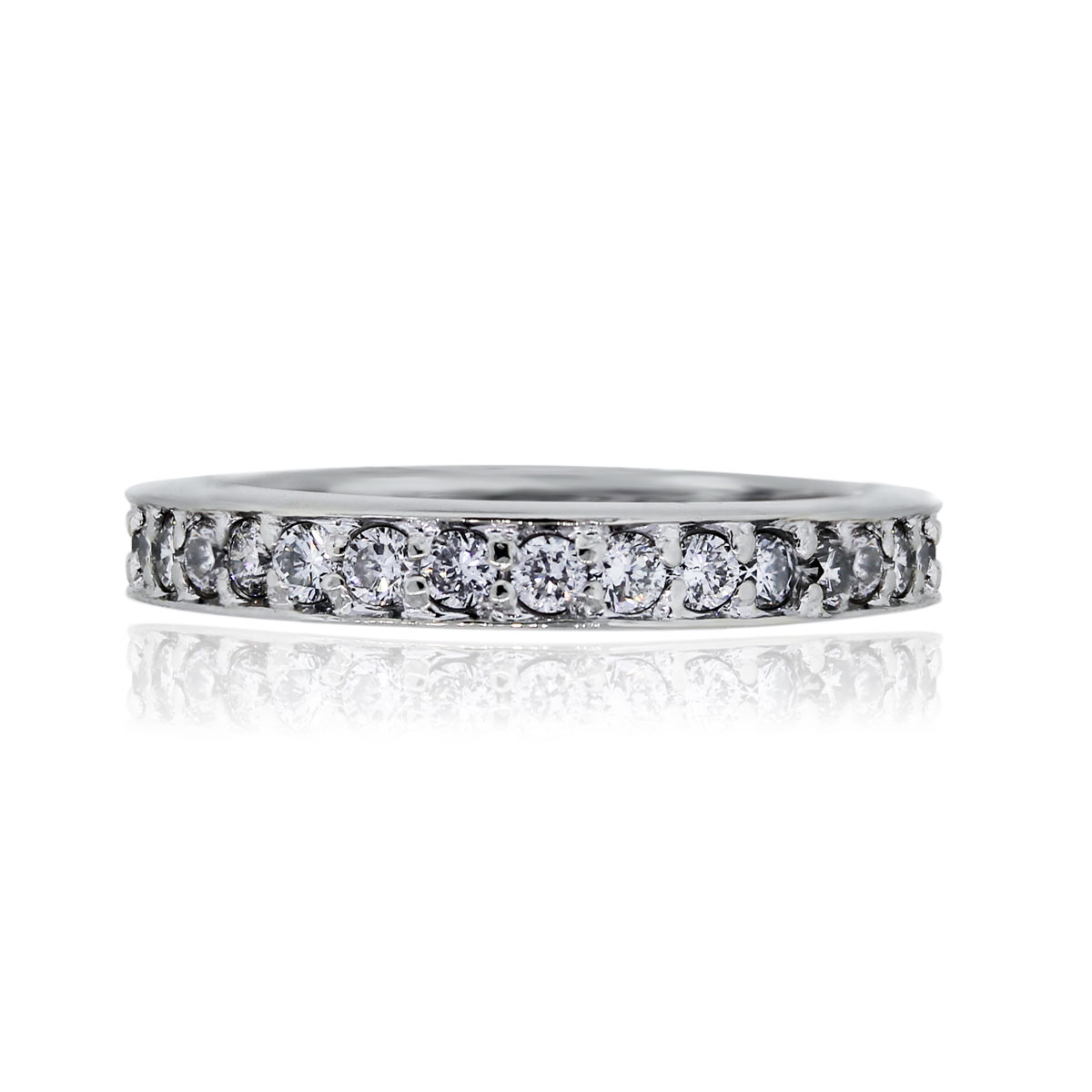 You are viewing this 14k White Gold Round Brilliant 3mm Diamond Wedding Band Ring!