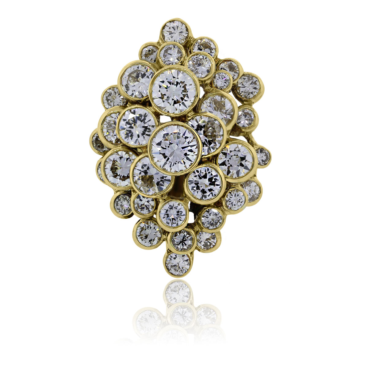 You are viewing this 18k Yellow Gold 9ctw Diamonds Bezel Set Cluster Ring!