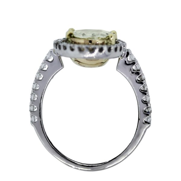 18k Gold Fancy Yellow Oval Rose Cut Pave Diamond Ring