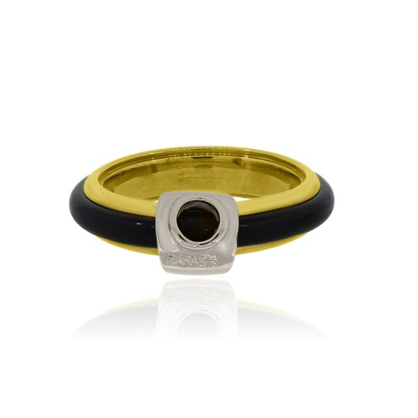 You are viewing this Baraka 18k Yellow Gold Natural Black Rubber Gents Ring!