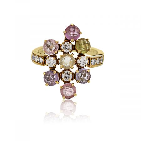 You are viewing this Bulgari 18k Yellow Gold Diamond Multi Sapphire Cluster Ring!