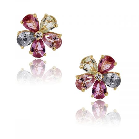 You are viewing these Bulgari Sapphire Diamond Flower Stud Earrings!