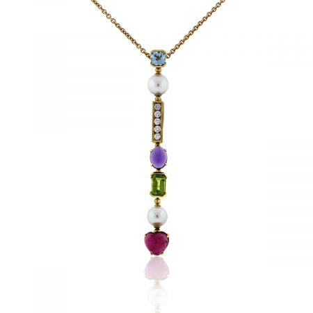 You are viewing this Bulgari Color Collection 18k Yellow Gold Diamond Multi Stone Necklace!