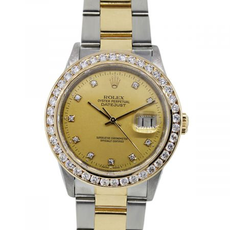 You are viewing this Rolex Datejust 16233 Two Tone Diamond Bezel Watch!